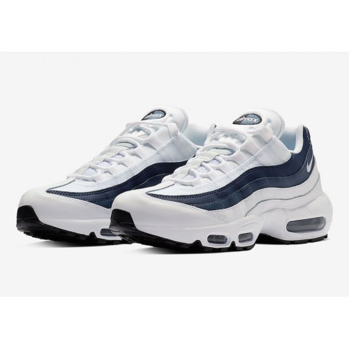 online store 44cb8 c373b Nike Air Max 95 Essential Trainers White Midnight Navy Platinum
