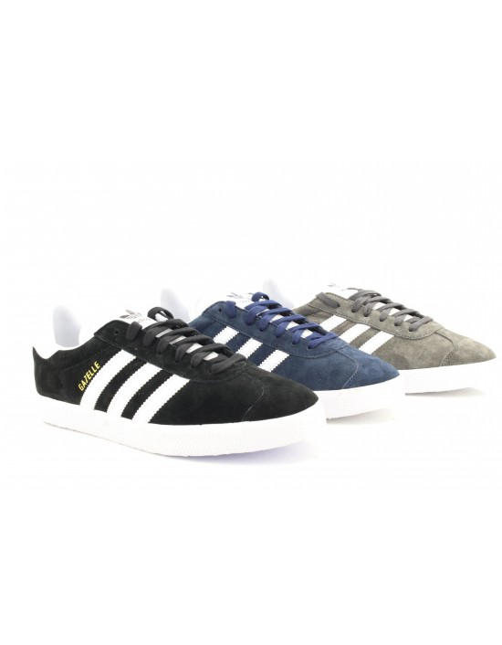 Adidas Gazelle Lace Up Retro Classic Fashion Leather Suede Trainers Navy Black Grey