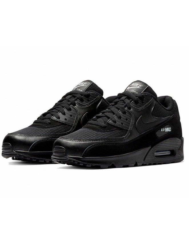outlet store 7f3ae 8d6f3 New Mens Nike Air Max 90 Essential Triple Black Chequered Trainers Shoes