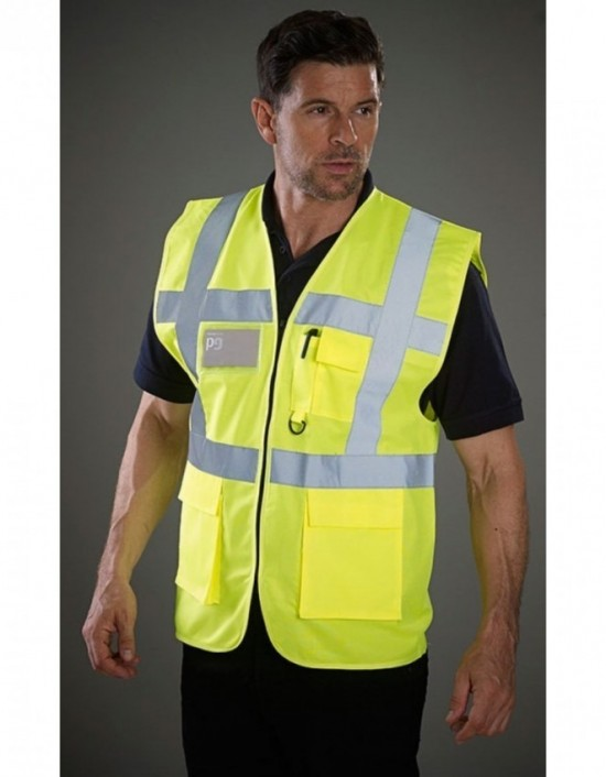 GRAFTERS PP024 HI-VIZ Fluo Yellow 100% Polyester Waistcoat