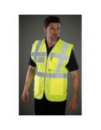 GRAFTERS PP024 HI-VIZ Fluo Yellow 100% Polyester Waistcoat