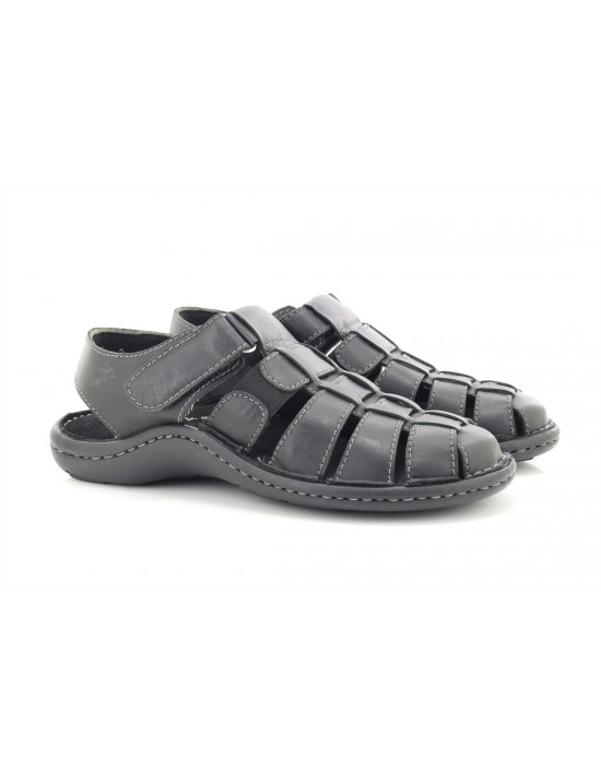 Dr Keller Sicily Black Real Leather Closed Toe Flexible Sandals