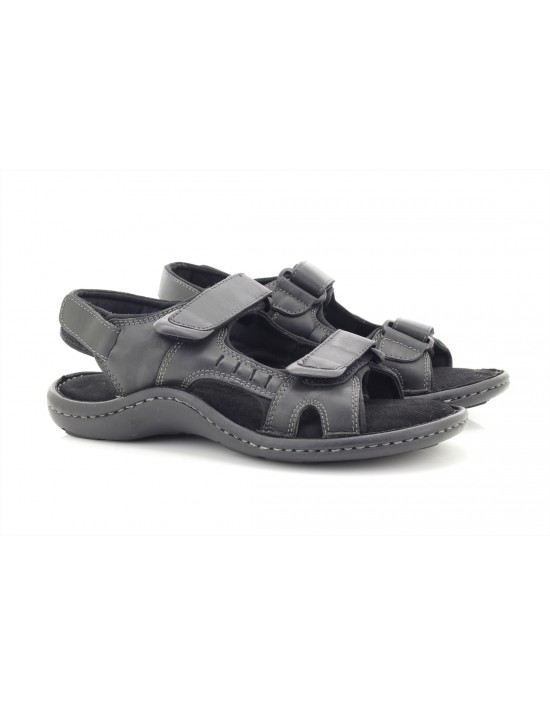 Dr Keller Brett Black Leather 3 Strap Touch Fastening Summer Sandals