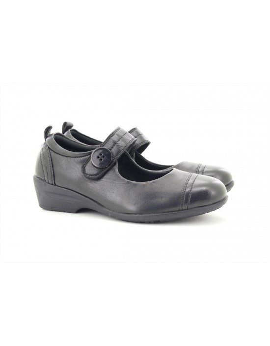 Dr Keller EDWINA Leather Touch Fastening Over Bar Shoes