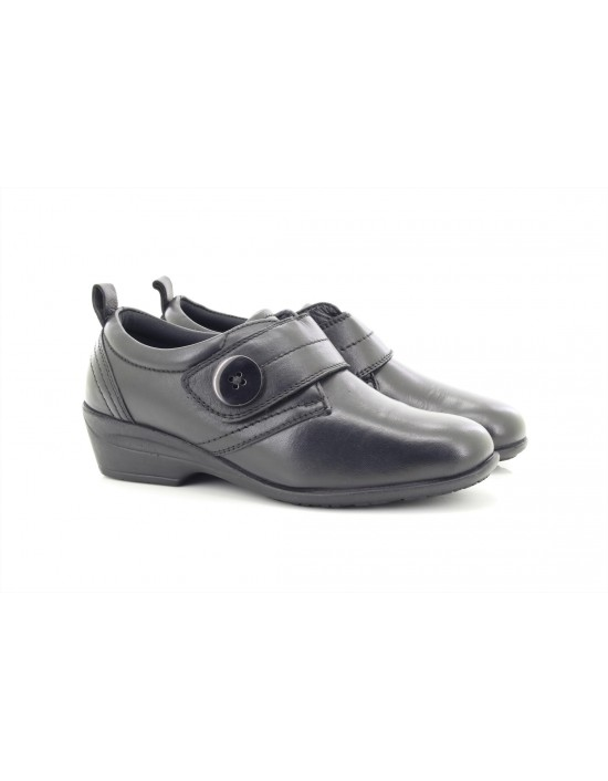 Dr Keller ENA Leather Touch Fastening Over Bar Shoes