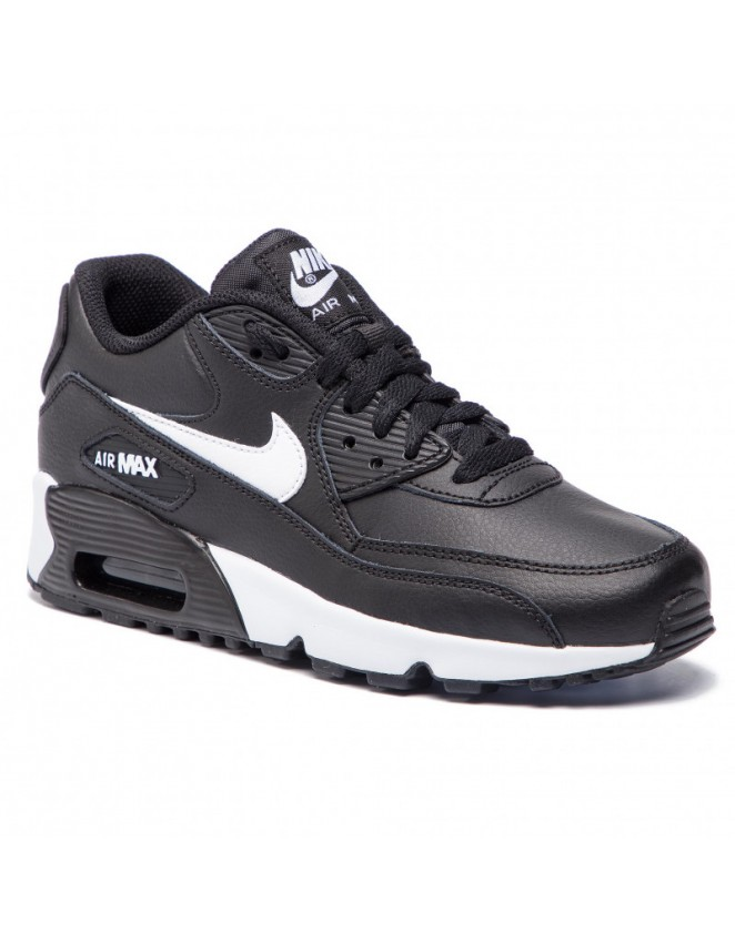 aff1190bf Nike Junior Air Max 90 Leather Trainer Black / White Unisex