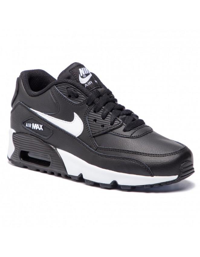 buy popular c8ebd 01d98 Nike Junior Air Max 90 Leather Trainer Black   White Unisex