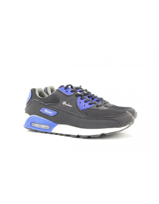 Rush Hour Unisex Max Air Black N Blue Lace Up Running Trainers