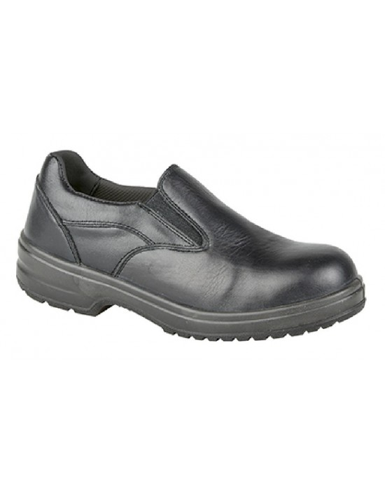 Grafters Lisa Plain Twin Gusset Safety Toe Cap Slip On Shoes