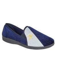 Shoetree Melvin Navy Grey Velour Twin Gusset Full Indoor Slippers
