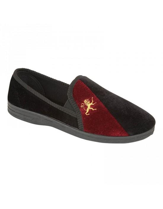 Shoetree Melvin Black/Burgundy Velour Twin Gusset Full Indoor Slippers