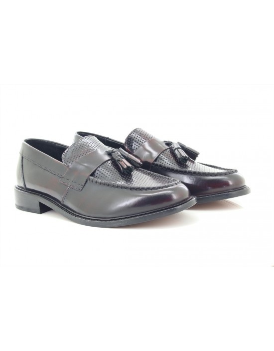 IKON ORIGINALS Quad Punch Bordo Tassel Loafers MOD Slip-On Shoes