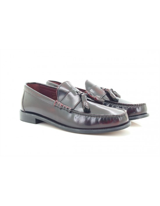 IKON Originals 'HOVE' Punch Bordo Tassel Loafers MOD Slip-On Shoes