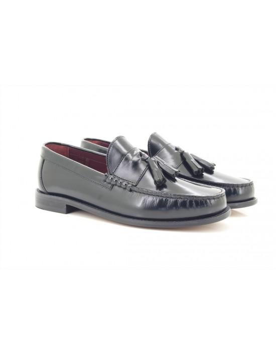 IKON Originals 'HOVE' Punch Black Tassel Loafers MOD Slip-On Shoes