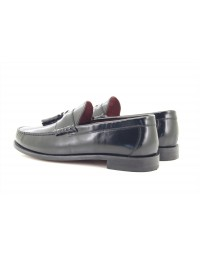 IKON Originals 'HOVE' Punch Black Tassel Loafers MOD Slip-On Shoes