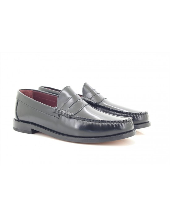 Ikon Originals 'Albion' Penny Leather Black Classic Loafers MOD Slip-On Shoes