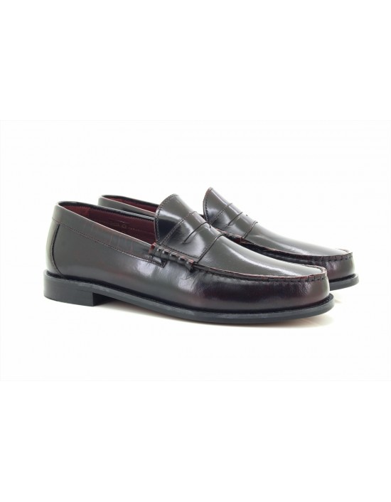 Ikon Originals 'Albion' Penny Leather BORDO Classic Loafers MOD Slip-On Shoes