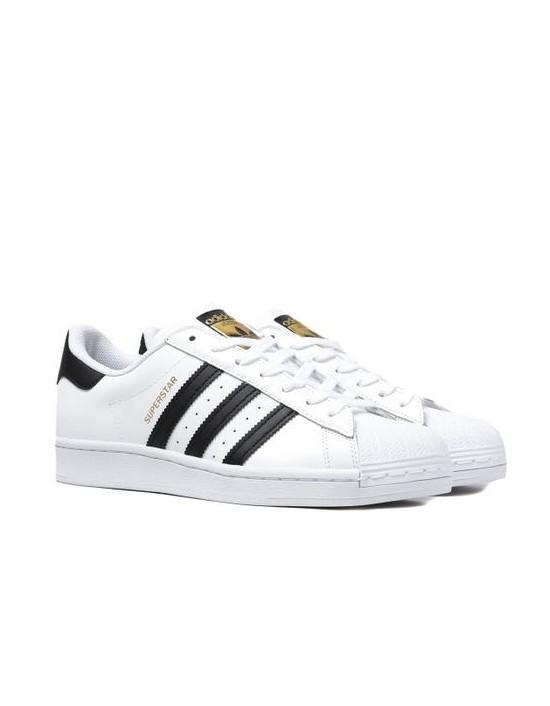 Mens Adidas Superstar White Black FOUNDATION Trainers