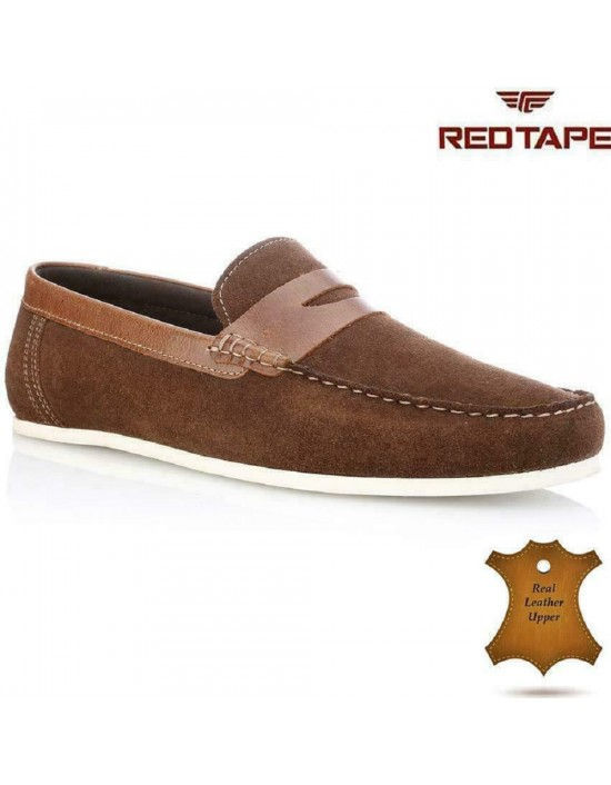 Red Tape Wardon Mens Leather Suede Slip On Moccasins / Shoes - Brown