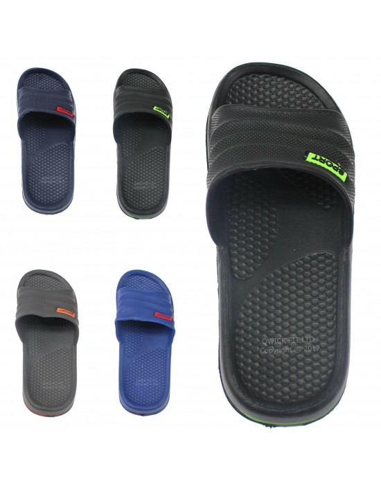 NEW MENS LIGHTWEIGHT SLIDERS SUMMER POOL BEACH FLIP FLOPS SHOWER BOYS SHOES