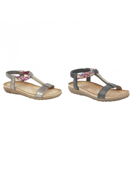 Boulevard Lisa L9526 Elasticated Jewelled Halter Back Summer Sandals