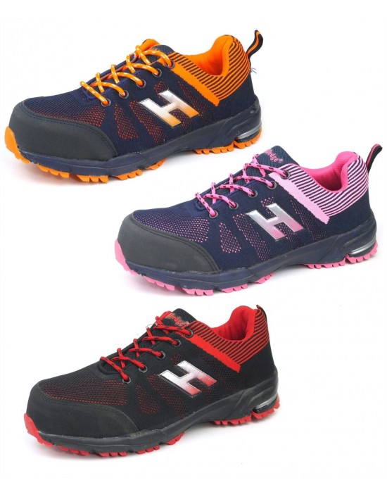 HardEdge Pink Red Orange Black Safety Toecap Lightweight Lace Up Trainers