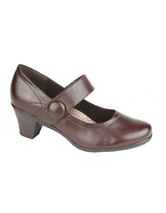 Boulevard Sophie L326 Medium Heel Touch Fastening T Bar Shoes