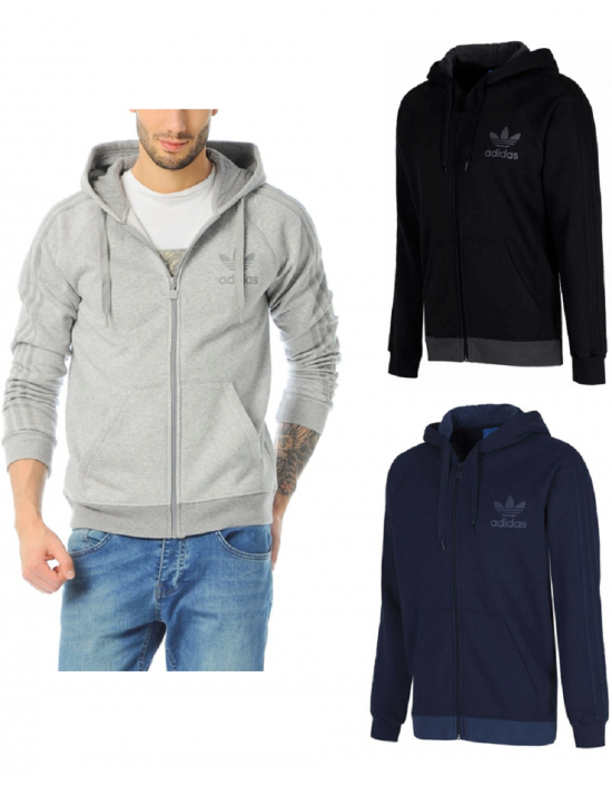 Adidas Originals Mens SPO Trefoil Fleece Full Zip Hooded Hoodie Top