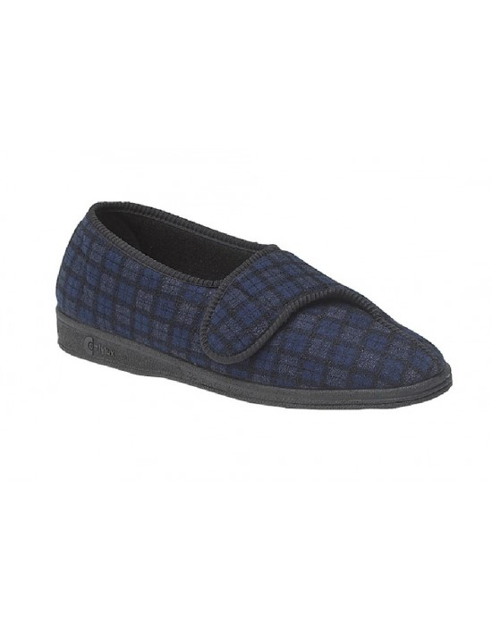 Comfylux PAUL MS236 Touch Fastening Checked Extra Wide Fitting Slipper