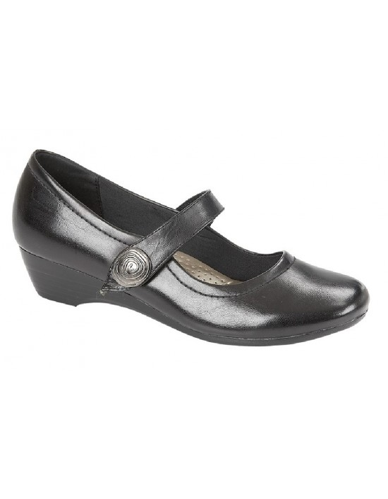 Boulevard L027A Ladies Black Touch Fastening Low Wedge Strap Shoes