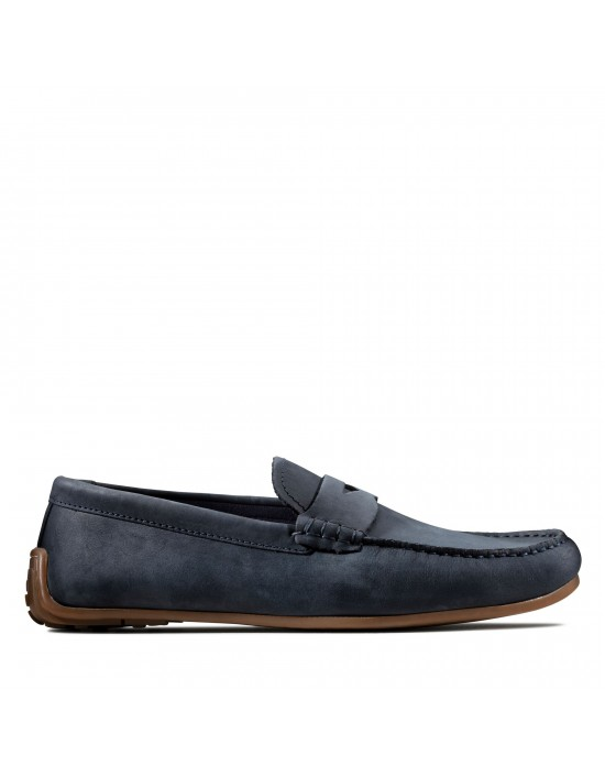 Mens Clarks Originals Reazor Penny Navy Nubuck Slip On Loafers Shoes