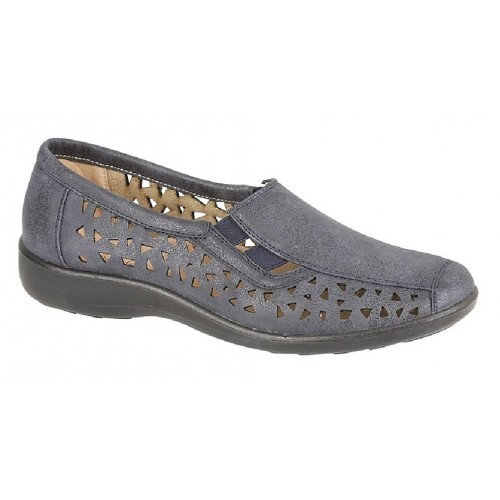 Boulevard Side Gusset Summer Casual Pepper Hole Punched Padded Shoes Stone Waxy