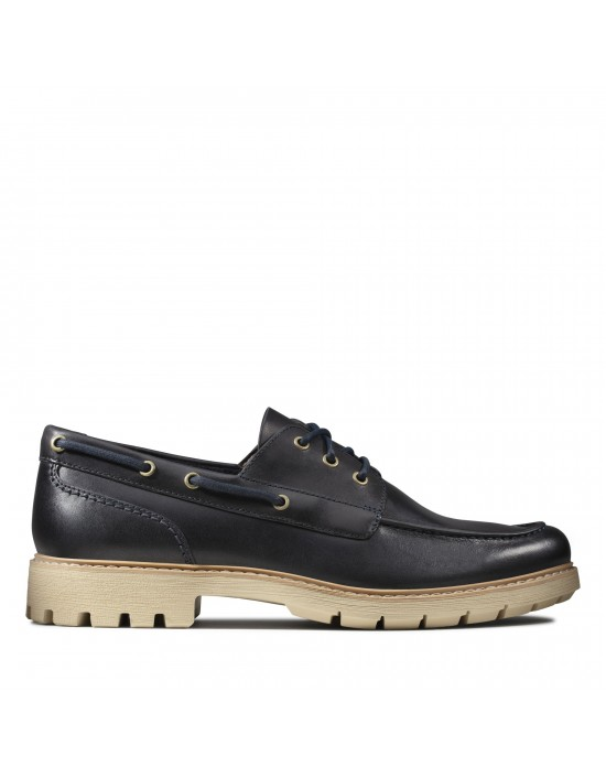 Mens Clarks Originals Batcombe Sail Navy Leather Boat Shoes