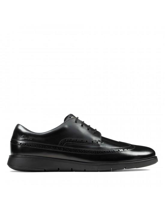 Clarks Mens Helston Limit Black Leather Smart Casual Brogue Shoes