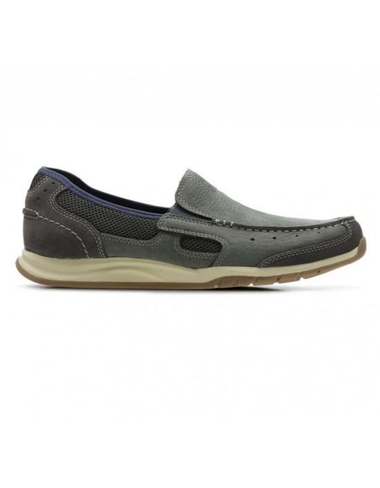 Mens CLARKS RAMADA SPANISH Blue Nubuck Slip On Casual Moccasin Shoes