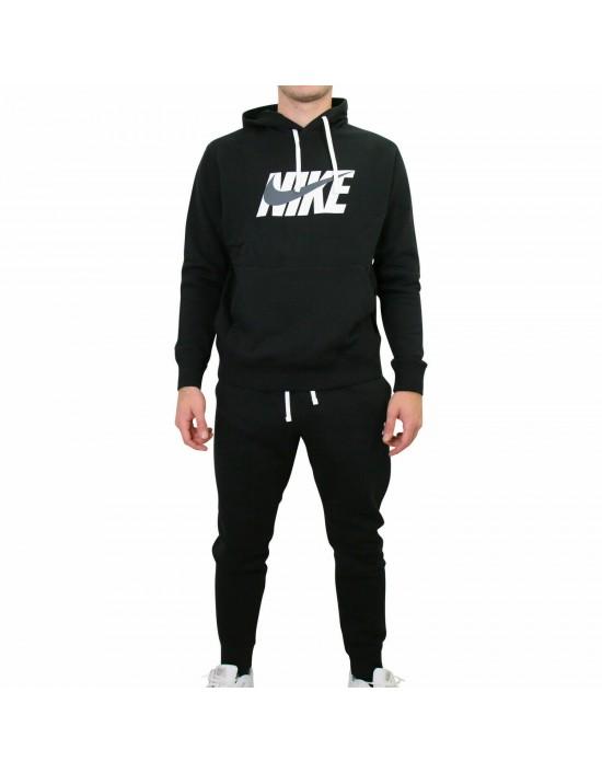Nike Mens Full Tracksuit Fleece Hoody and Pants Black And Grey