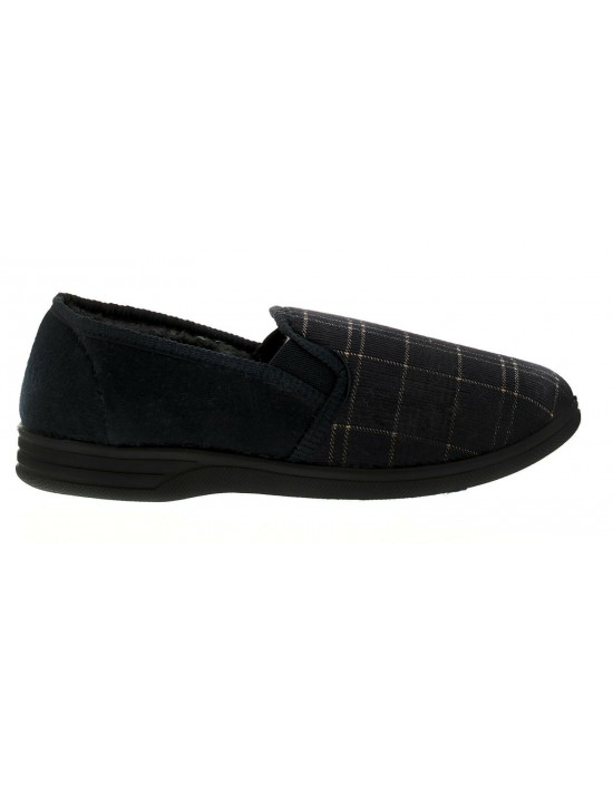 Dr Keller Eric Mens Knights Navy Wide Fit Full Slippers