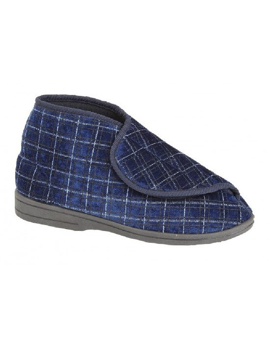 Zedzzz BERTIE Mens Textile Touch Fastening Washable Bootee Slipper Boots