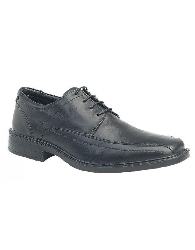 Roamers Square Toe 'Lightweight' 4 Eye Tramline Panel Tie Up Shoes Black Leather