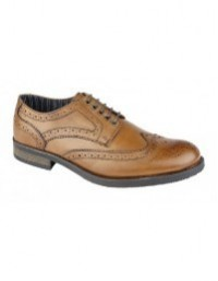 Roamers M117 5 Eyelet Wing Capped Brogue Gibson Leather Brushed Lace Up Shoes