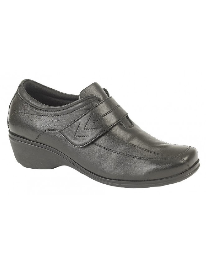 Ladies Mod Comfys Touch Fastening Leather Elasticated Shoes Black Softie  Leather a5065675fd