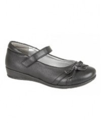 U.S.Brass DRIZZLE C788 Girls Black Touch Fastening Bow Flat School Casual Shoes