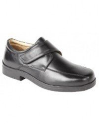 Roamers Mike M435A Mens Black Softie Leather Extra Wide Touch Fastening Tramline Shoes