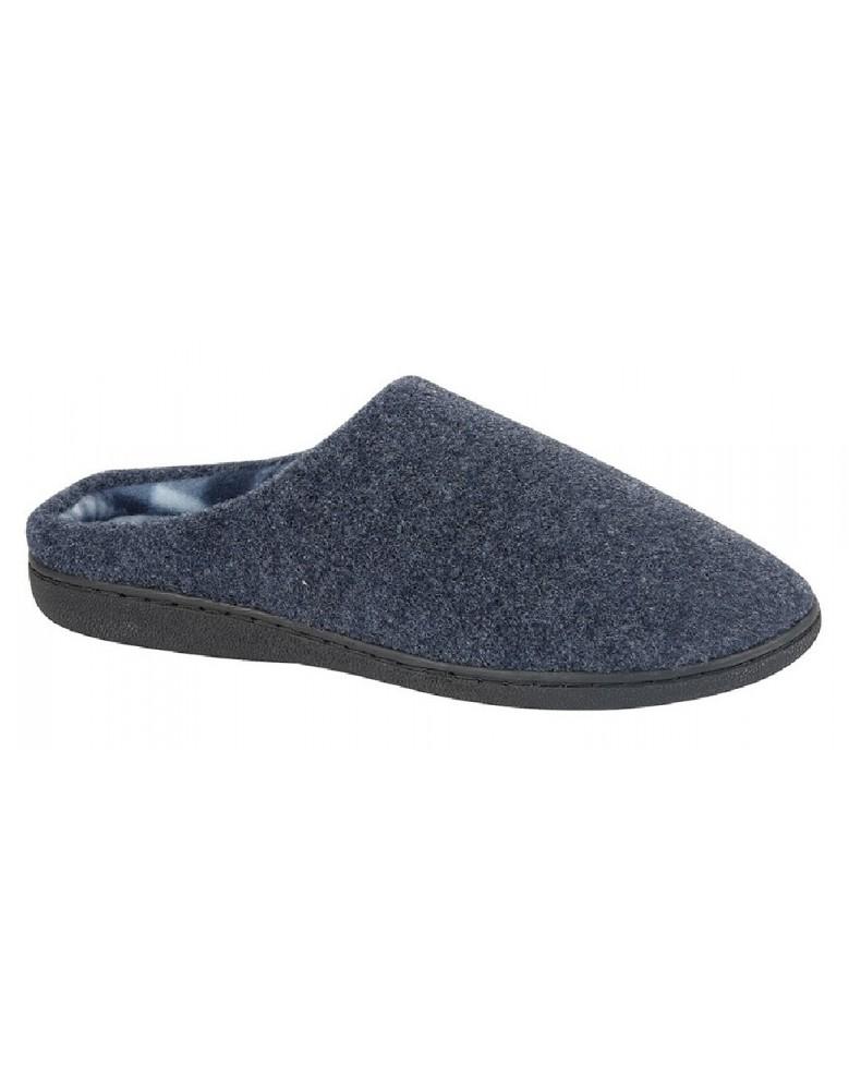 Zedzzz TONY Textile Velour Mule Indoor Mule Slippers Navy Blue Textile