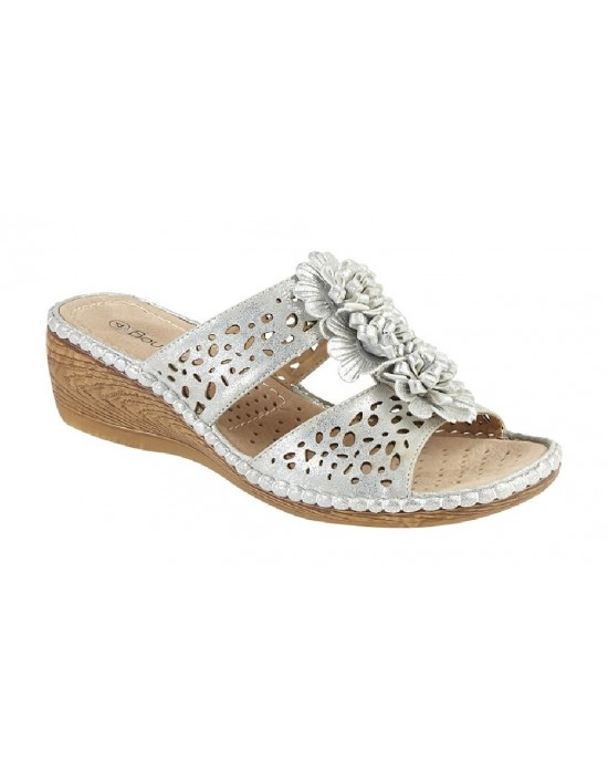 Boulevard kelly 2 Bar Punched Floral Mule Wedge Summer Padded Sandals