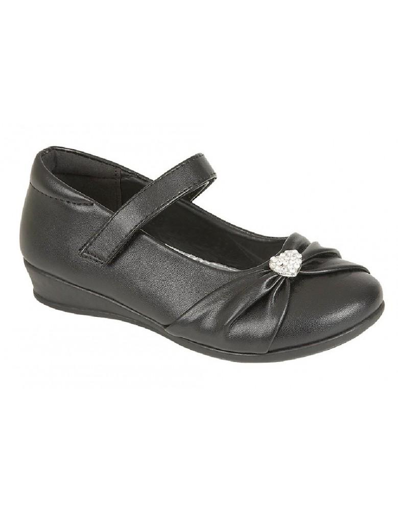 U.S.Brass PAIGE C794 Touch Fastening Diamante School Shoes Black Patent PU