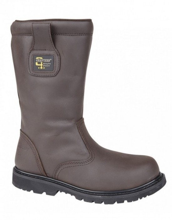 Mens GRAFTERS Brown CrazyHorse Leather Safety Rigger Boots
