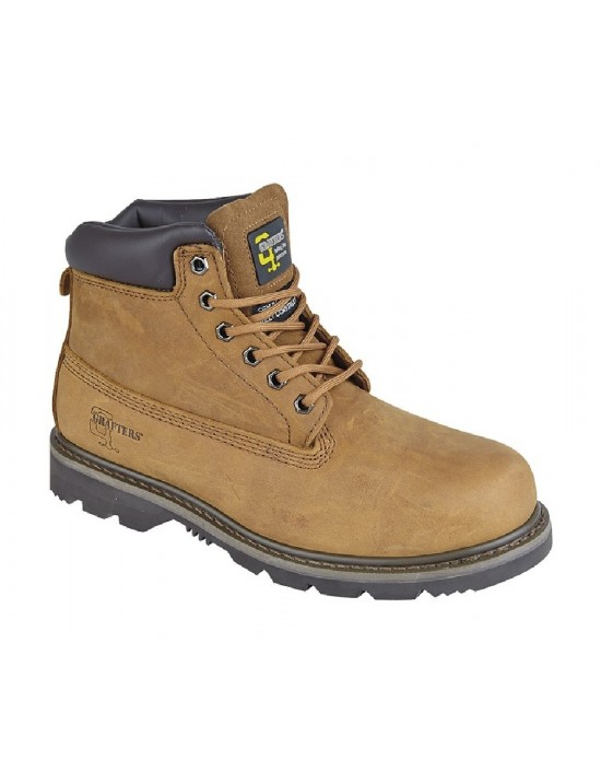 GRAFTERS M030 6 Eyelet Grain Leather Padded Work Boots