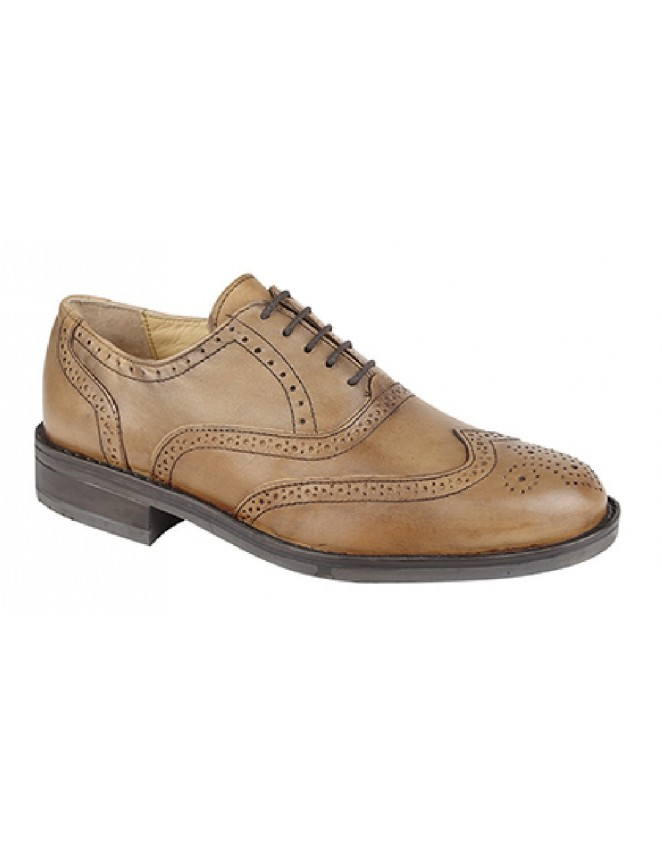 Roamers M793 Black Leather Padded Brogue Oxford Shoes