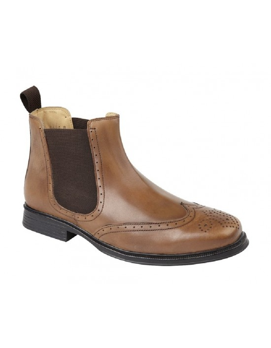Roamers Leather Brogue Wing Cap Chelsea Dealer Ankle Boots